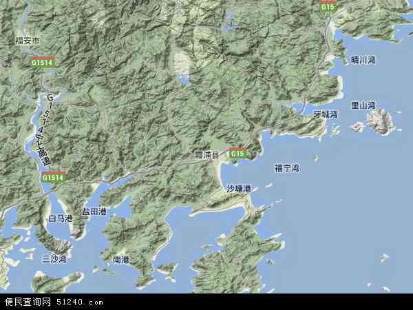 中国福建省宁德市霞浦县地图(卫星地图)