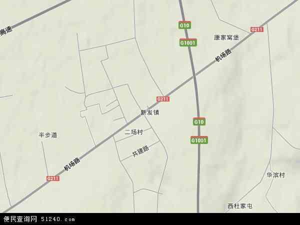 中国黑龙江省哈尔滨市道里区新发镇地图(卫星