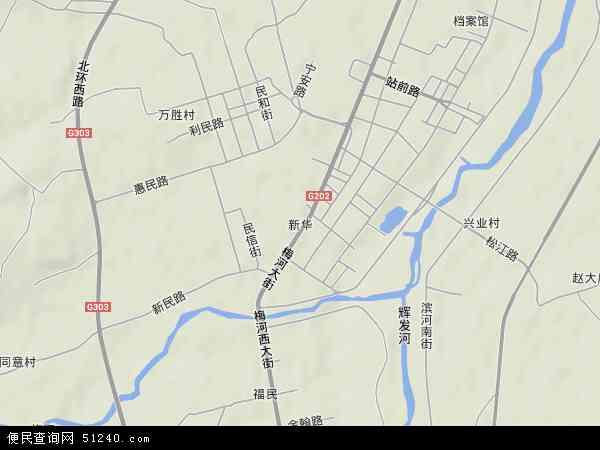 中国吉林省通化市梅河口市新华地图(卫星地图)