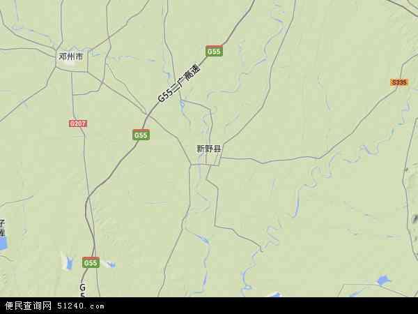 中国河南省南阳市新野县地图(卫星地图)