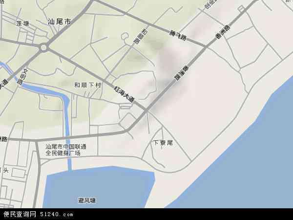 中国广东省汕尾市城区香洲地图(卫星地图)