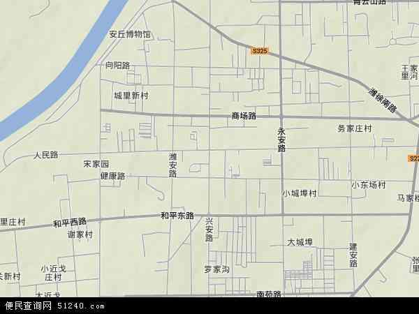 中国山东省潍坊市安丘市兴安地图(卫星地图)