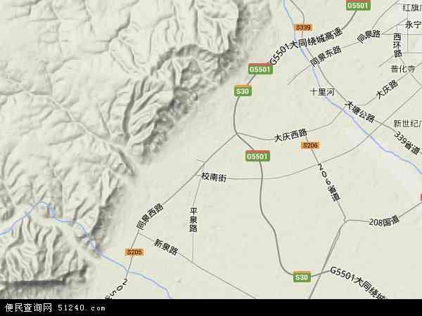 中国山西省大同市矿区杏儿沟地图(卫星地图)