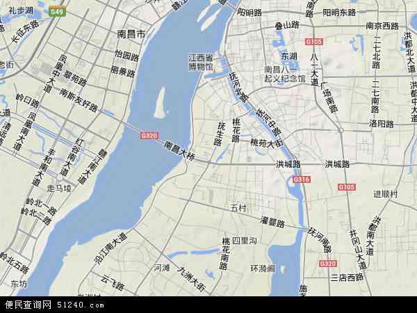中国江西省南昌市西湖区地图(卫星地图)