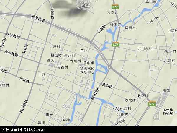 中国浙江省温州市龙湾区永中地图(卫星地图)