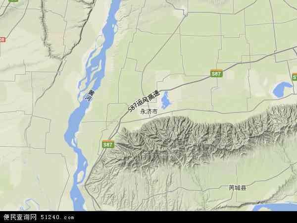 中国山西省运城市永济市地图(卫星地图)