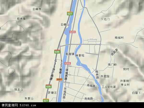 中国安徽省池州市东至县尧渡镇地图(卫星地图)