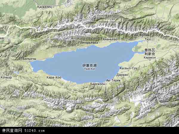 吉尔吉斯斯坦伊塞克湖地图(卫星地图)