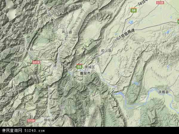 雨城区地图 - 雨城区卫星地图