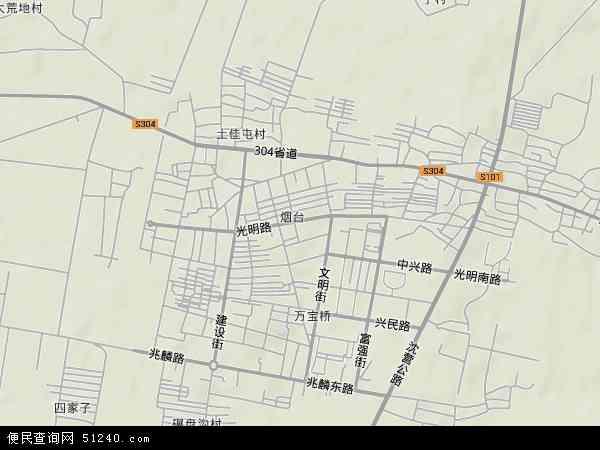 中国辽宁省辽阳市灯塔市烟台地图(卫星地图)