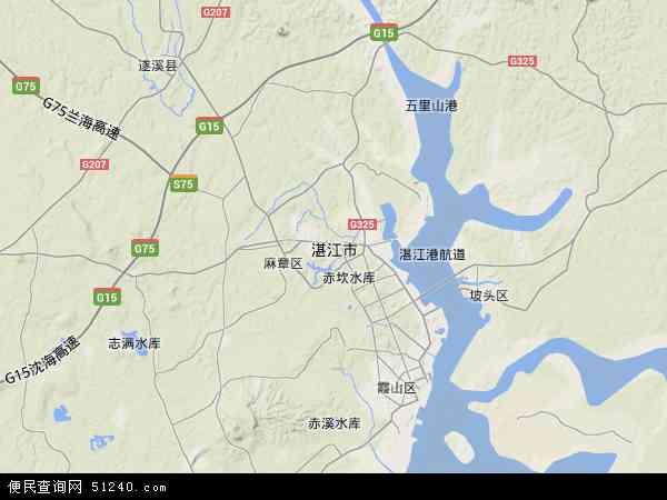 中国广东省湛江市地图(卫星地图)