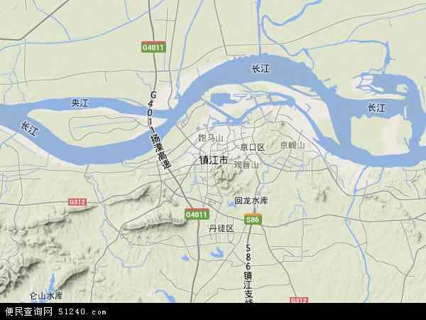 中国江苏省镇江市地图(卫星地图)