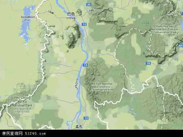 老挝占巴塞地图(卫星地图)