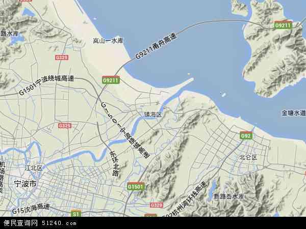 中国浙江省宁波市镇海区地图(卫星地图)