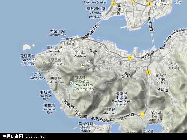 中国香港中西区地图(卫星地图)