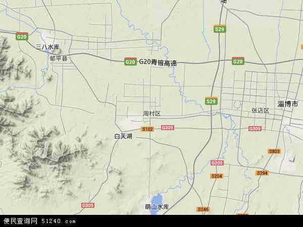 中国山东省淄博市周村区地图(卫星地图)