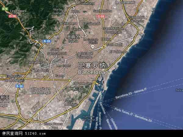 巴塞罗那航拍照片,2017巴塞罗那卫星地图,巴塞罗那北斗卫星地图2018
