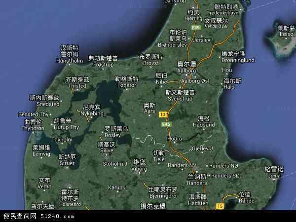 丹麦北日德兰地图(卫星地图)