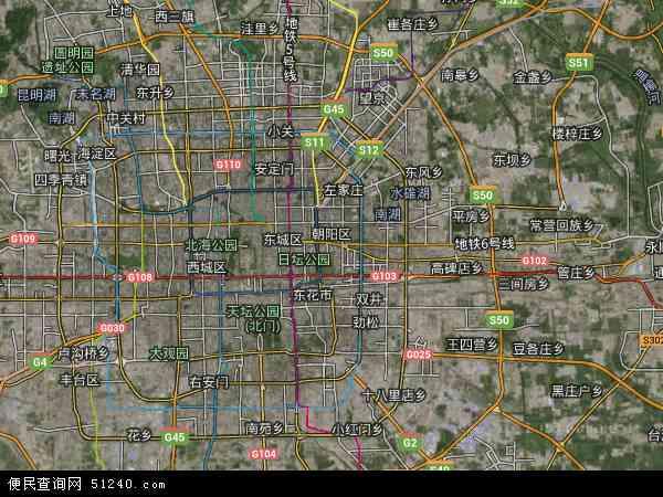 中国北京市朝阳区地图(卫星地图
