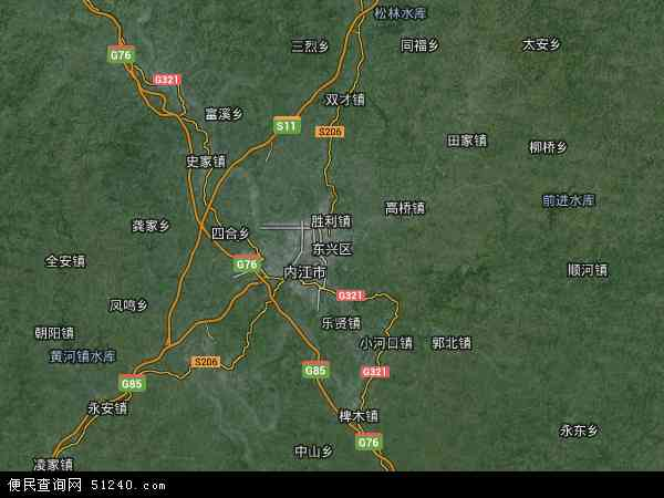 东兴区地图 - 东兴区卫星地图