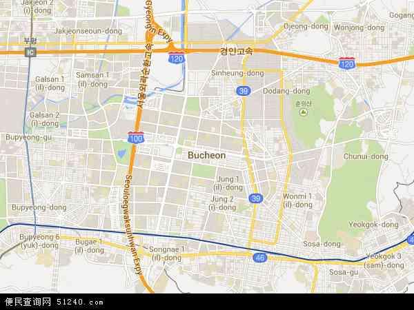 韩国京畿道富川市地图(卫星地图)