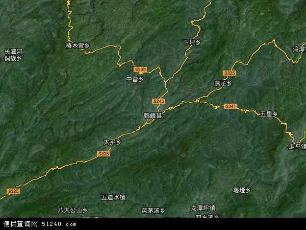 中国湖北省恩施土家族苗族自治州鹤峰县地图(卫星地图)图片