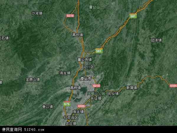 中国贵州省遵义市汇川区地图(卫星地图)