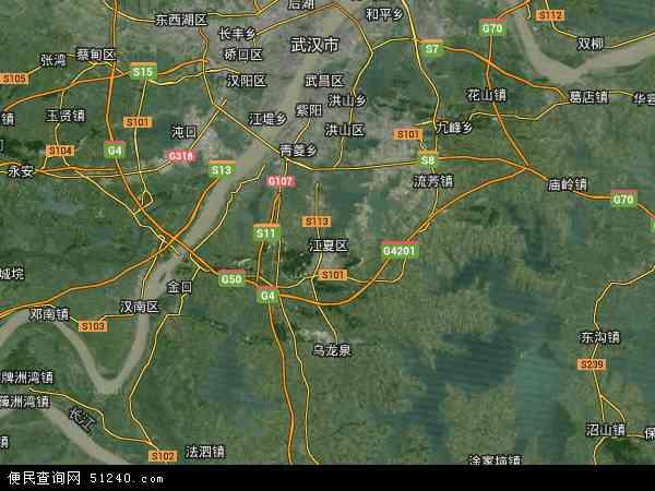 中国湖北省武汉市江夏区地图(卫星地图)