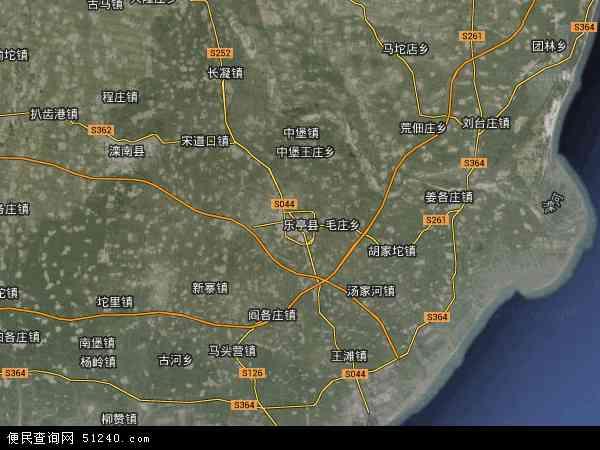 中国河北省唐山市乐亭县地图(卫星地图)