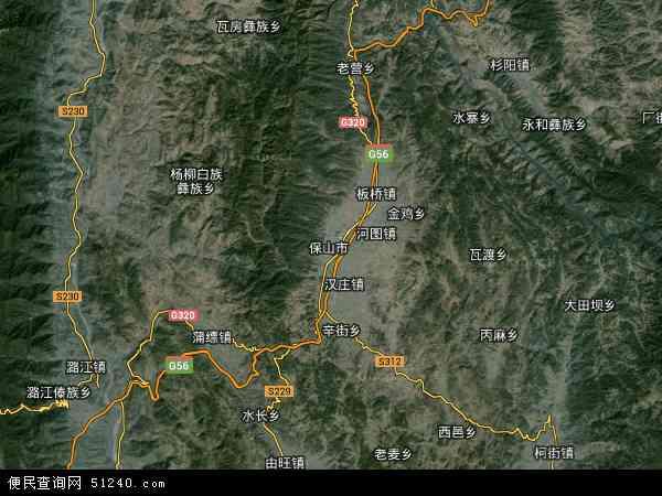 中国云南省保山市隆阳区地图(卫星地图)