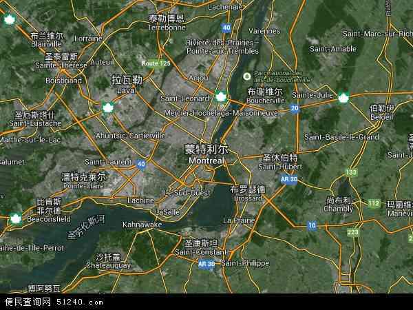加拿大蒙特利尔地图(卫星地图)