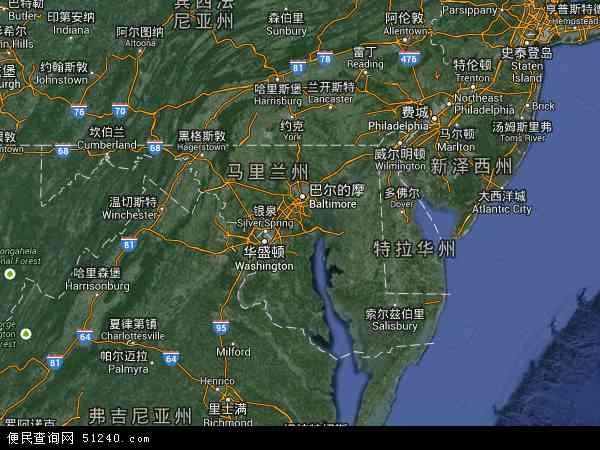 美国马里兰地图(卫星地图)