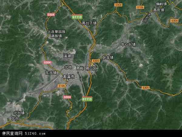 明山区地图 - 明山区卫星地图 - 明山区高清航拍图片
