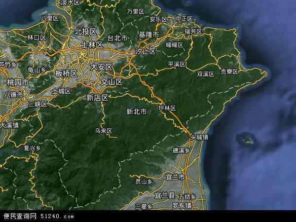 中国台湾台北县地图(卫星地图)