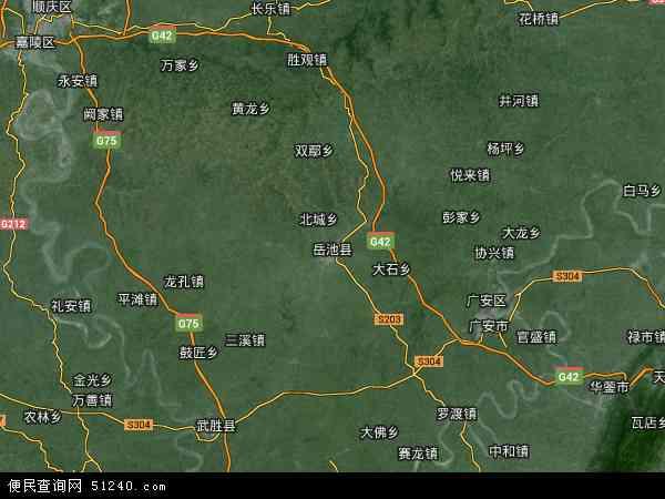 中国四川省广安市岳池县地图(卫星地图)