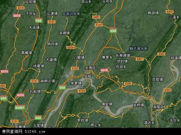 中国重庆市长寿区地图(卫星地图)