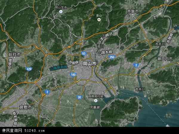 日本冈山地图(卫星地图)