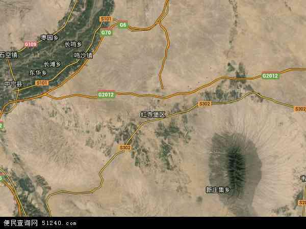 中国宁夏回族自治区吴忠市红寺堡区地图(卫星地图)
