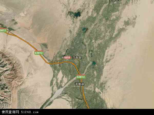 中国新疆维吾尔自治区喀什地区莎车县喀?#24067;?#29425;地图(卫星地图)