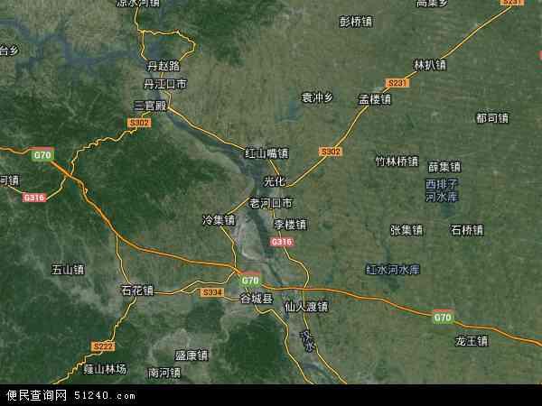 中国湖北省襄阳市老河口市地图(卫星地图)