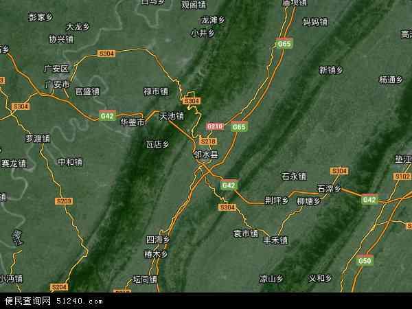 中国四川省广安市邻水县地图(卫星地图)