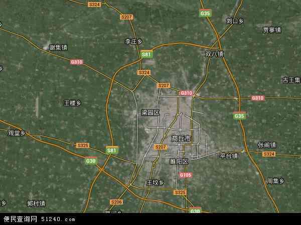 中国河南省商丘市梁园区地图(卫星地图)