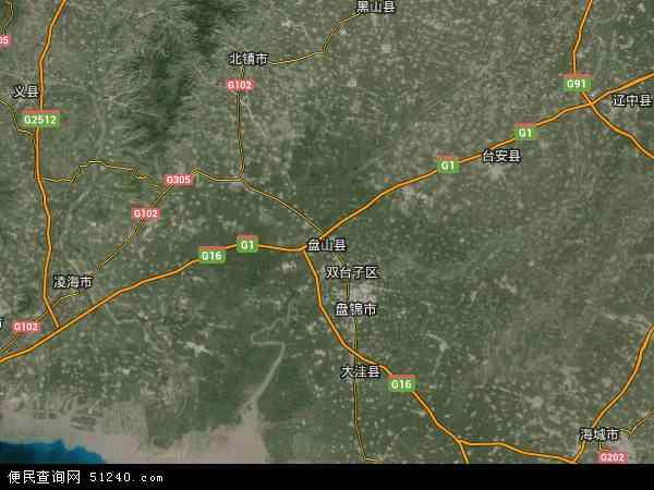 中国辽宁省盘锦市盘山县地图(卫星地图)
