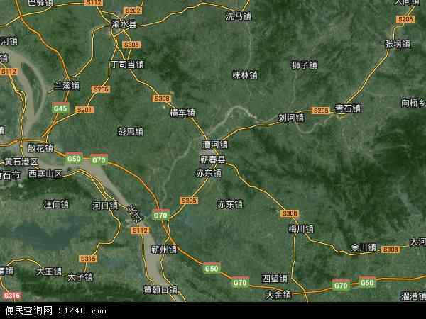 中国湖北省黄冈市蕲春县地图(卫星地图)