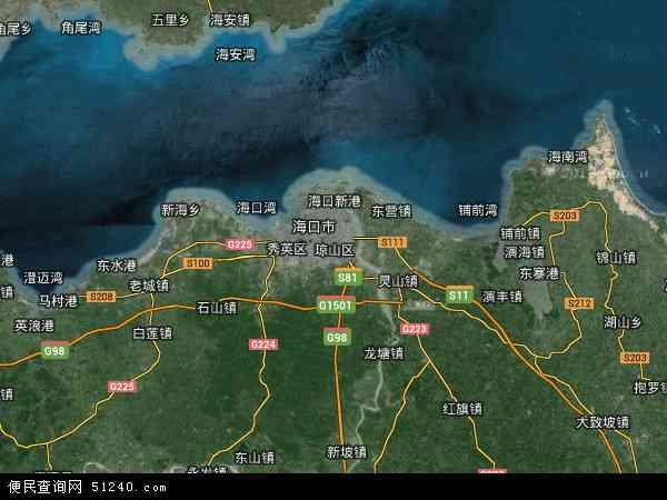 中国海南省海口市琼山区地图(卫星地图)