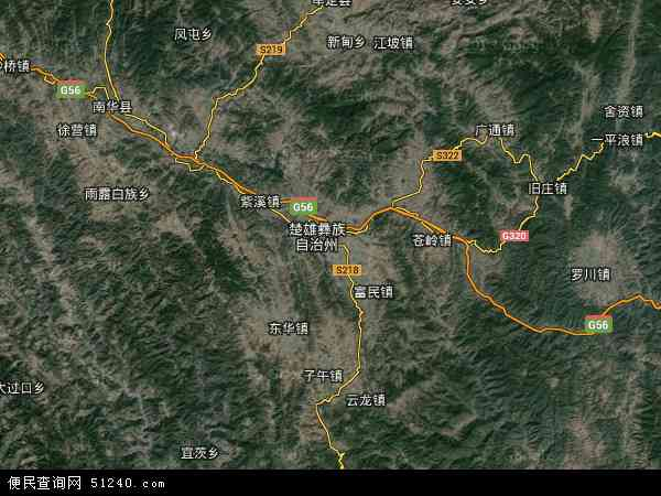 中国云南省楚雄彝族自治州楚雄市西舍路镇地图(卫星地图)