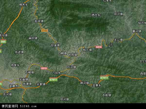 中国陕西省安康市旬阳县地图(卫星地图)