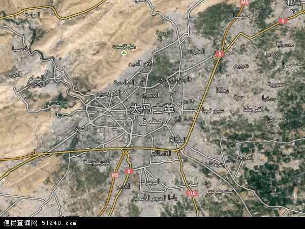 叙利亚大马士革市地图(卫星地图)