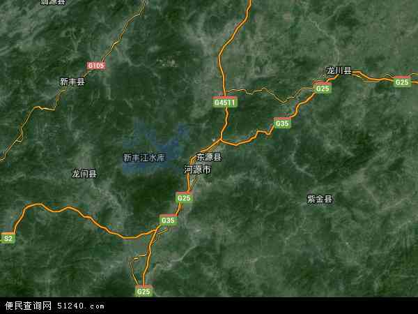 中国广东省河源市东源县地图(卫星地图)