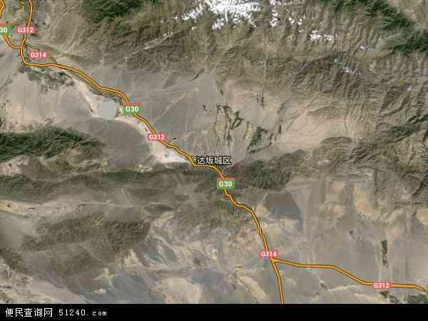中国新疆维吾尔自治区乌鲁木齐市达坂城区地图(卫星地图)图片